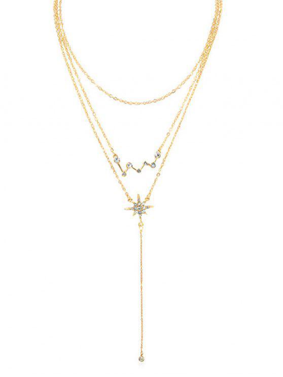 women Shinny Rhinestone Star Multi Layers Necklace - GOLD