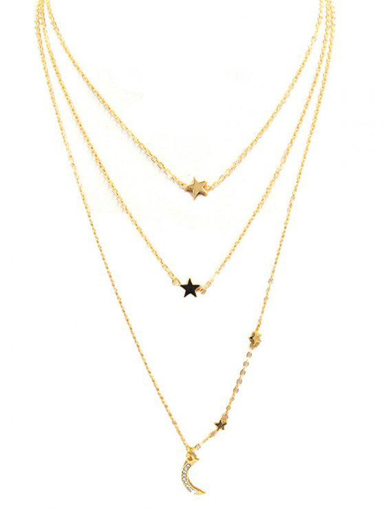 ladies Star Moon Multi Layers Chain Necklace - GOLD