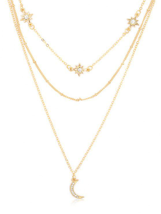 best Elegant Star Moon Rhinestone Multi Layers Necklace - GOLD