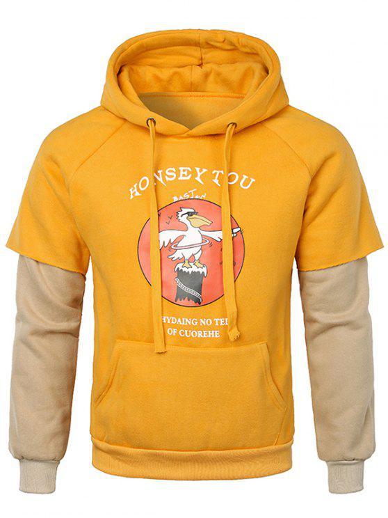 affordable False Two Pieces Kanga Pocket Hoodie - GOLDEN BROWN L