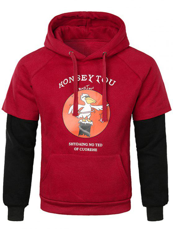 best False Two Pieces Kanga Pocket Hoodie - RED XL