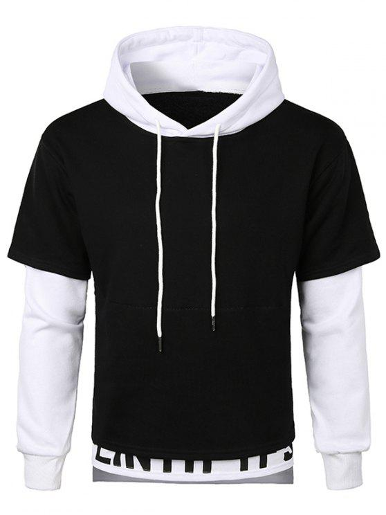 buy Layered Bottom Drawstring Letter Hoodie - WHITE M