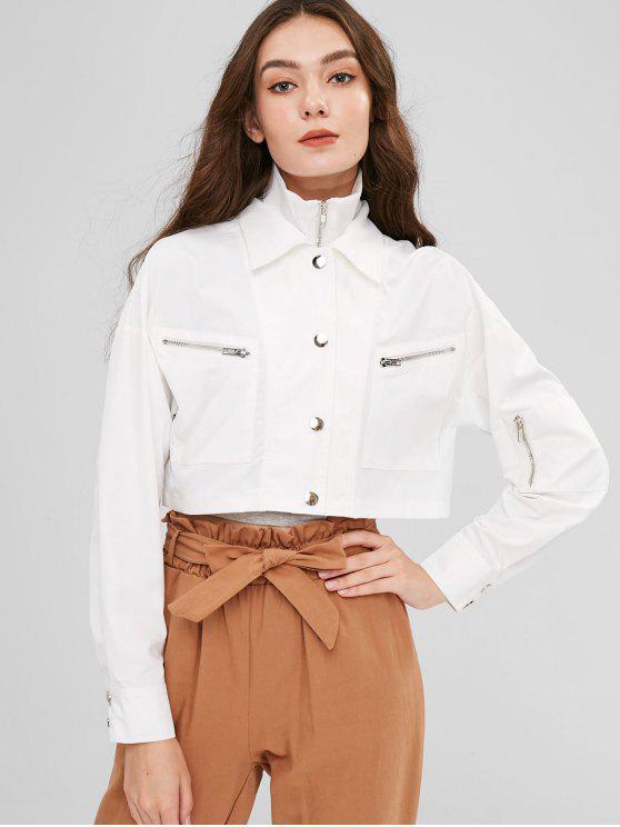 lady ZAFUL Snap Button Zip Up Cropped Jacket - WHITE L