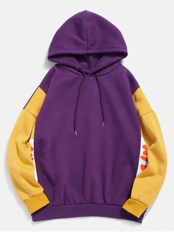 fancy Fleece Lined Color Block Graphic Hoodie - PURPLE XL