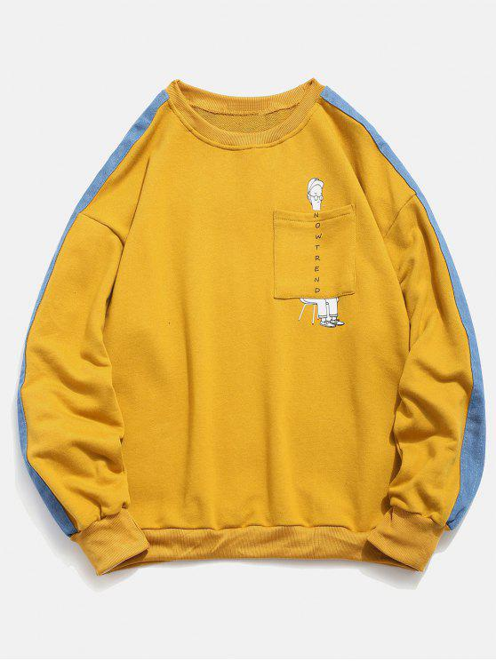 hot Denim Trim Cartoon Pocket Sweatshirt - YELLOW XL