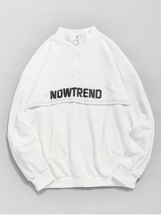 outfit Half Zip Pockets Letter Sweatshirt - WHITE XL
