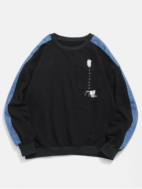 trendy Denim Trim Cartoon Pocket Sweatshirt - BLACK 2XL