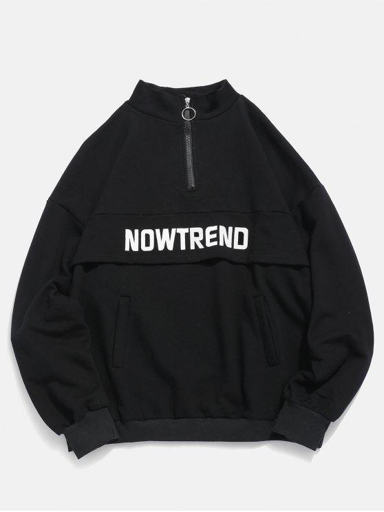 affordable Half Zip Pockets Letter Sweatshirt - BLACK M