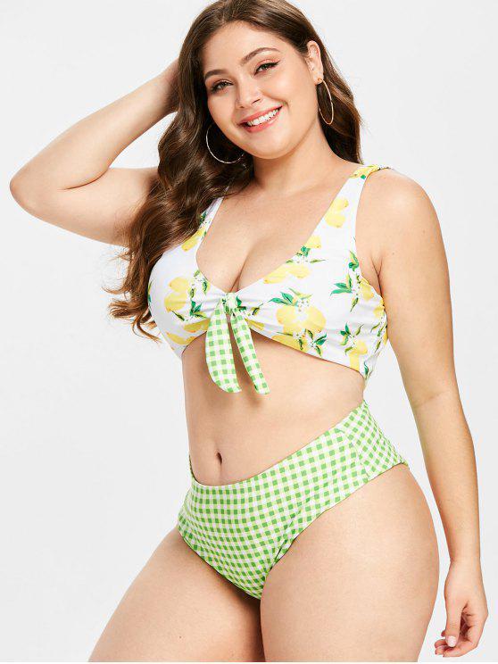 Bikini Plus Size A Quadretti Con Stampa Limone - Multi Colori-A L