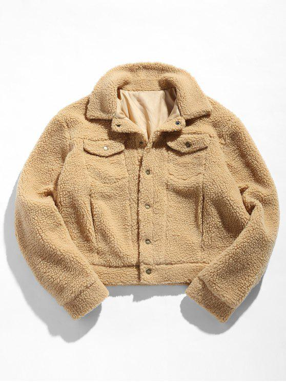 ladies ZAFUL Snap Button Pocket Fluffy Jacket - CAMEL BROWN M