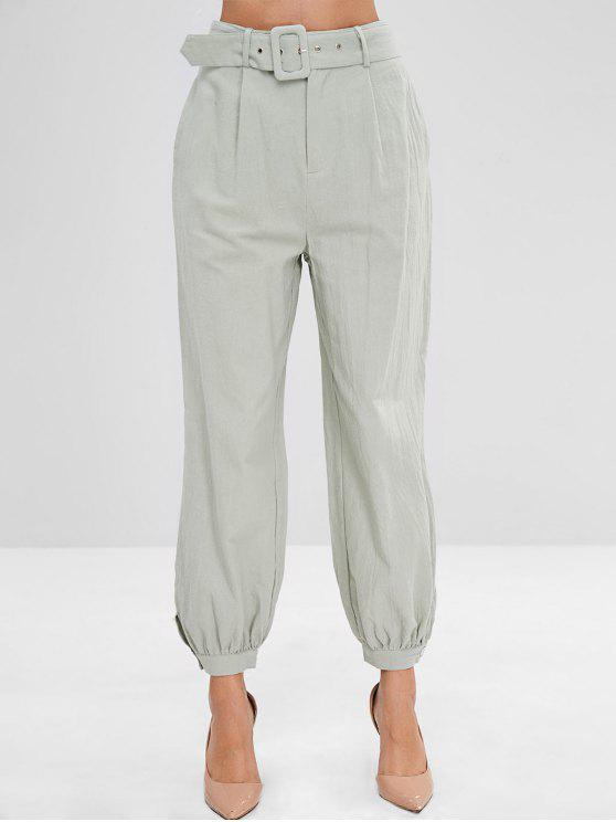 lady Buttoned Cuffs High Waisted Joggers Pants - DARK SEA GREEN L