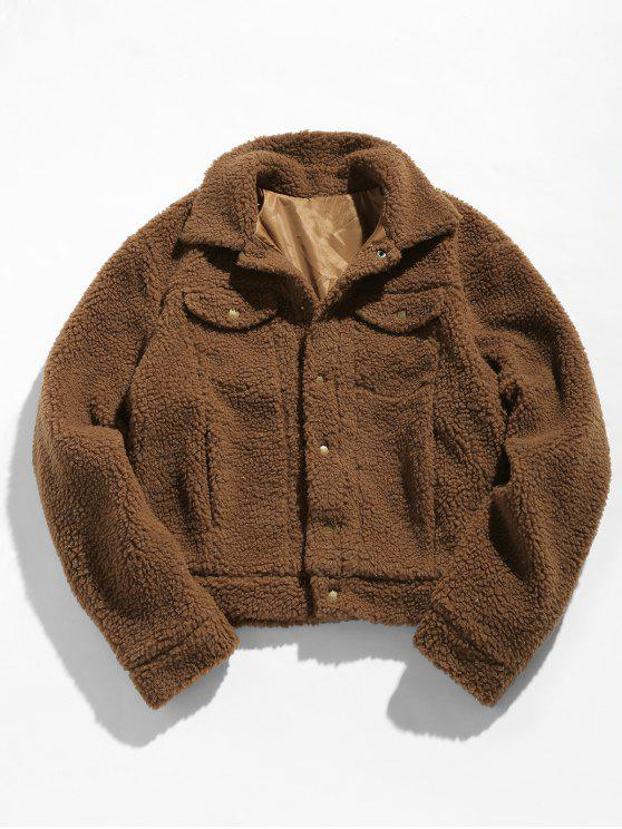 unique ZAFUL Snap Button Pocket Fluffy Jacket - COFFEE S