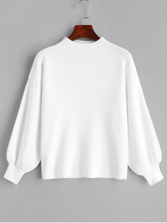 unique Drop Shoulder Plain Lantern Sleeve Sweater - WHITE ONE SIZE