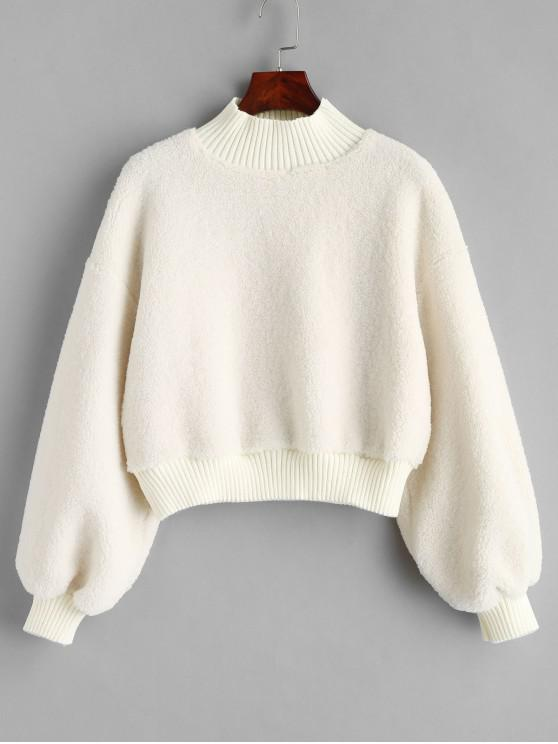 sale Plain Mock Neck Faux Shearling Teddy Sweatshirt - WHITE ONE SIZE
