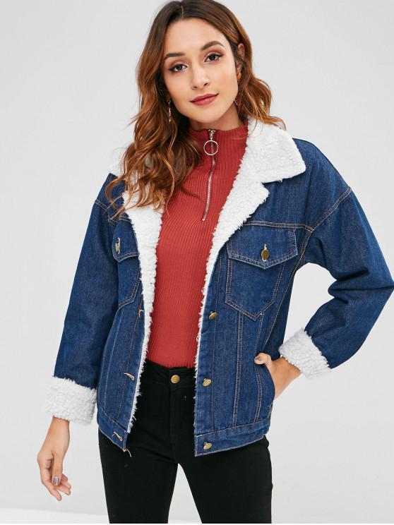affordable Faux Shearling Lined Denim Jacket - DENIM DARK BLUE XL