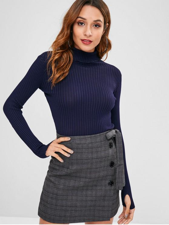 chic Armhole Ribbed Turtleneck Sweater - MIDNIGHT BLUE ONE SIZE
