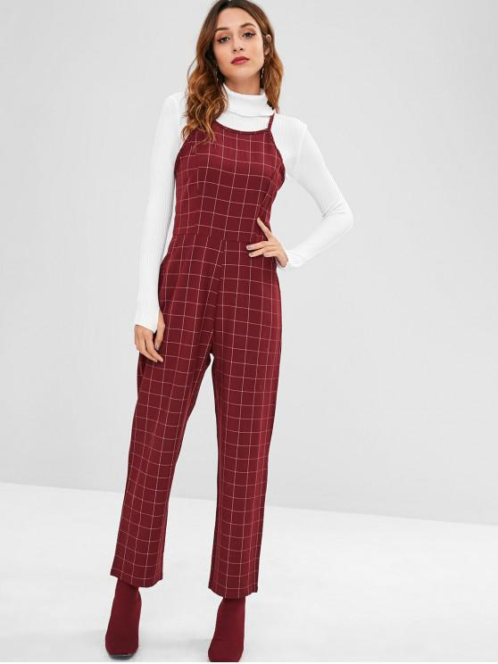 eaf7cb119e74 32% OFF   HOT  2019 ZAFUL Checked Straight Jumpsuit In MAROON