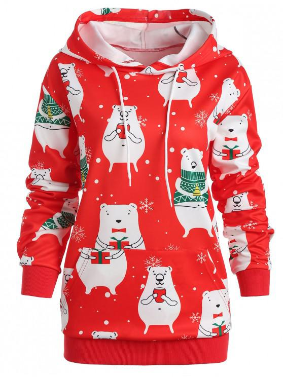 ladies Plus Size Christmas Graphic Hoodie - RED 1X