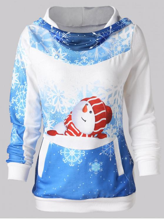 Christmas Snowman Print Pullover Hoodie - Albastru L