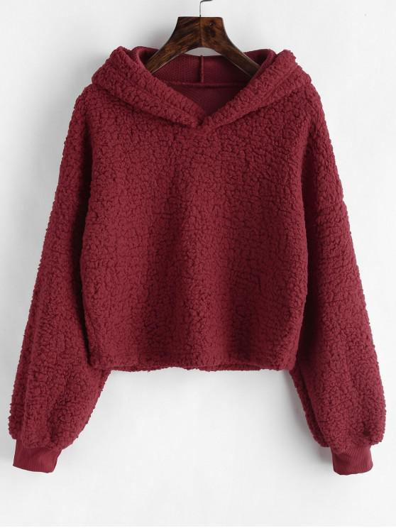 affordable Loose Fit Faux Fur Hoodie - RED WINE L