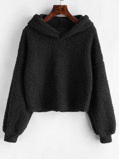 Loose Fit Faux Fur Hoodie - Black L