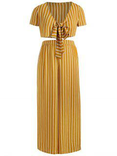 ZAFUL Plus Size Striped Knotted Pants Set - Orange Gold 1x