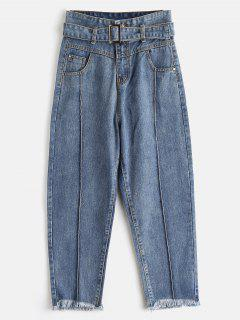 Belted High Waisted Frayed Jeans - Denim Blue L