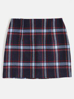 Plaid Bodycon Skirt With Zipper Fly - Deep Blue M