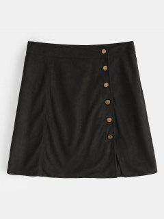 Button Up Faux Suede Skirt - Black L