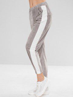 High Waisted Velvet Joggers Pants - Gray Goose M