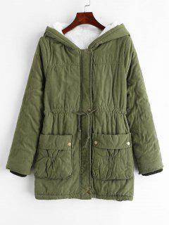 Fleece Hooded Pocket Coat - Camouflage Green L