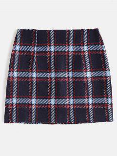 Plaid Bodycon Skirt With Zipper Fly - Deep Blue Xl