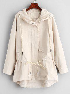 Zip Up Drawstring Hooded Coat - Beige Xl