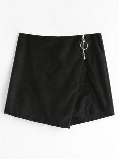 Zipper Embellished Asymmetric Skorts - Black M