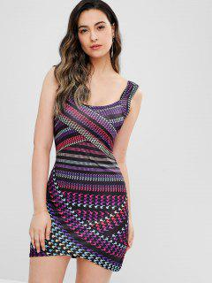 Houndstooth Printed Dress - Multi L