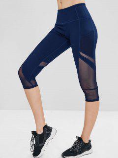 Mesh Insert Pocket Crop Gym Leggings - Cadetblue L