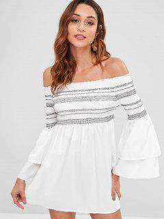 Layered Sleeves Smocked Mini Dress - White M
