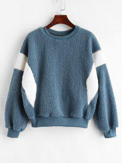 Two Tone Faux Shearling Sweatshirt - Peacock Blue