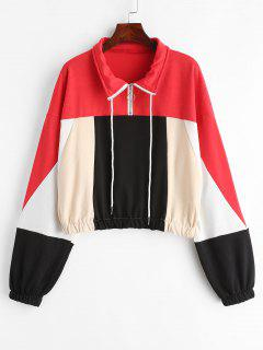 Color Block Half Zip Drawstring Sweatshirt - Multi L