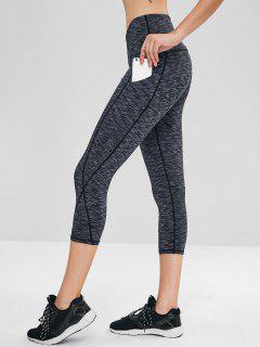 Heather Pocket Crop Gym Leggings - Dark Gray M