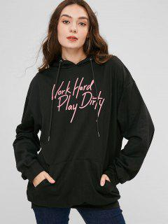 Pouch Graphic Oversized Long Hoodie - Black S