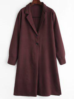 Lapel Long Sleeve Loose Shift Dress - Velvet Maroon L