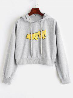 Letter Appliqued Drawstring Crop Hoodie - Gray M