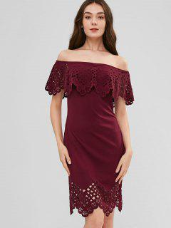 Off Shoulder Laser Cut Dress - Firebrick M