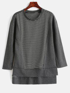 Side Slit Striped High Low Tee - Dark Gray M