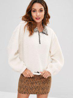 Leopard Collar Faux Fur Sweatshirt - Warm White