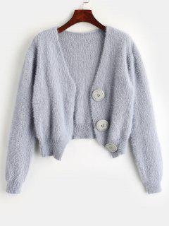 Short Fuzzy Cardigan With Button Fly - Blue Gray