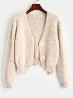 Short Fuzzy Cardigan With Button Fly - Warm White
