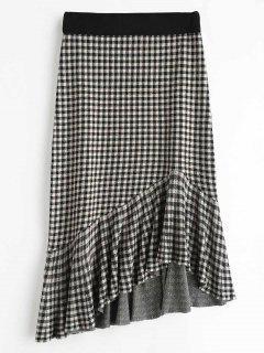 Plaid Knit Skirt With Flounce - Multi
