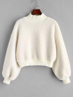 Plain Mock Neck Faux Shearling Sweatshirt - White